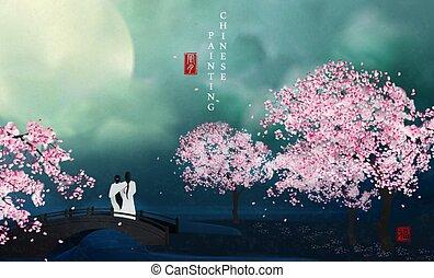 chinês, blessing., night., tinta, árvore, desfrutando, :, vento, vista, flor, lua, tradução, paisagem, amantes, arte, quadro, fundo, ponte, elegante
