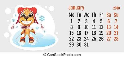 chinês, cão, amarela, 2018, ano, calendário