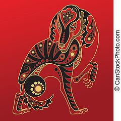 chinês, cão, horoscope., ano