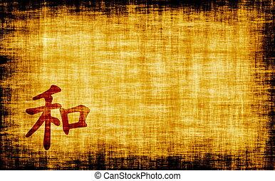 chinês, caligrafia, -, harmonia