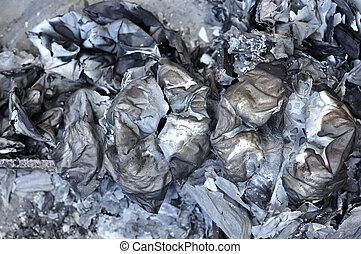 chinês, cinzas, religião, believe., papel, queimado