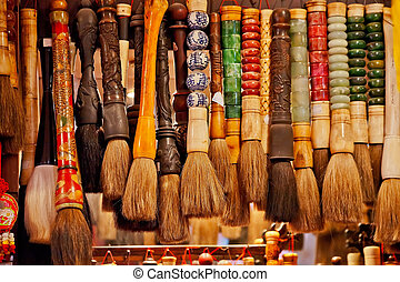 chinês, coloridos, escovas, lembrança, china, beijing, tinta