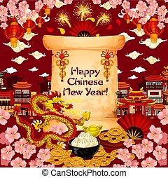 chinês, desejo, saudação, vetorial, ano, novo, cartão