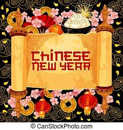 chinês, desejo, saudação, vetorial, ano, novo, scroll, cartão