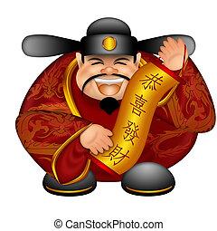 chinês, dinheiro, deus, com, bandeira, desejando,...
