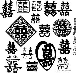 chinês, dobro, felicidade