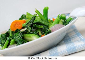 chinês, estilo, legumes copados