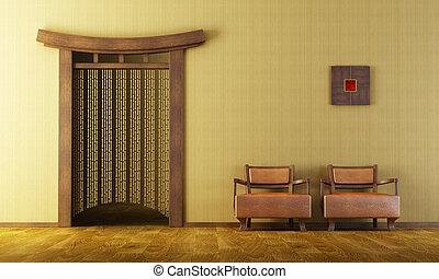 chinês, estilo, lounge, sala
