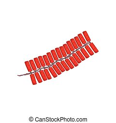 chinês, firecrackers, símbolo, ilustração, vetorial, fundo, ano, novo, branca