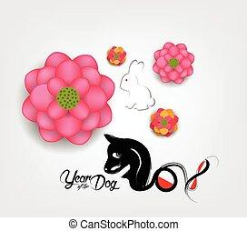 chinês, flor, ameixa, cão, ano, 2018., novo