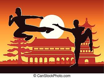 chinês, fu, boxe, kung