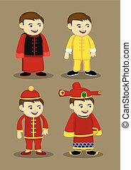 chinês, homens, trajes, ilustração, acessórios, tradicional, vetorial
