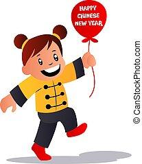 chinês, ilustração, caricatura, celebrando, vetorial, fundo, ano, novo, branca, menina
