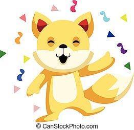 chinês, ilustração, gato, celebrando, vetorial, fundo, ano, novo, branca