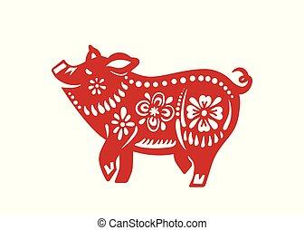chinês, ilustração, porca, vetorial, ano, novo, celebration., feliz