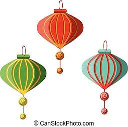 chinês, lanternas, decorationillustration, tradicional, vetorial, fundo, ano, novo, branca