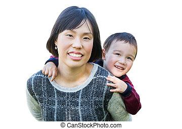 chinês, mãe, e, raça misturada, criança, isolado, ligado, um, branca, experiência.