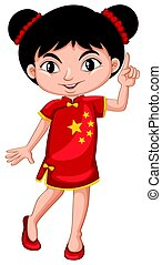 chinês, menina, em, traje tradicional