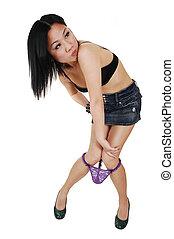 chinês, menina, loosing, dela, panties.