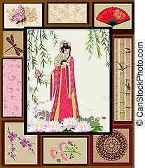 chinês, menina, nacional, padrões