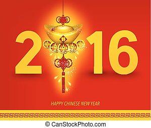 chinês, oriental, ano, novo, 2016, feliz