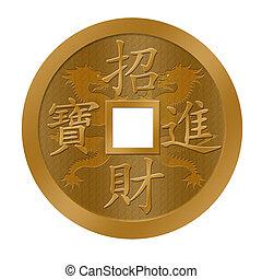 chinês, ouro, dragão, ano, novo, moeda