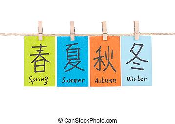chinês, palavras, de, primavera, verão, outono, e, inverno