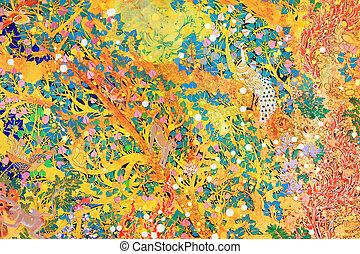 chinês, parede, padrão, tradicional, pintura, tailandês