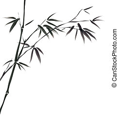 chinês, quadro, bambu