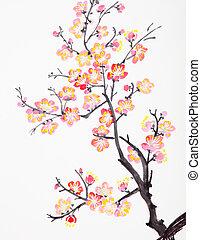chinês, quadro, de, flores, flor ameixa
