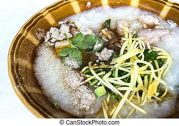 Chinês, século, alimento,  Congee, ovo