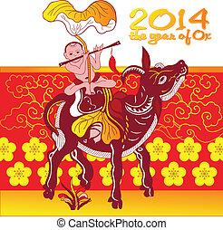 chinês, -, saudação, ano, novo, cartão