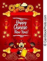 chinês, saudação, símbolos, vetorial, ano, novo, cartão