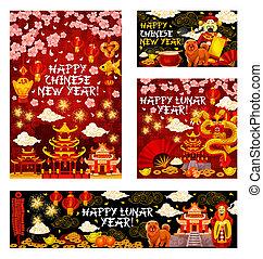 chinês, saudação, vetorial, ano, novo, feriado, cartão