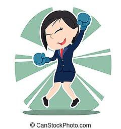 chinês, sucedido, executiva, luvas boxing, desgaste