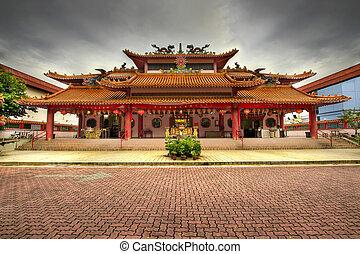 chinês, templo, pavimentado, quadrado