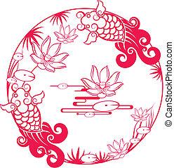 chinês, tradicional, afortunado, padrão, peixe