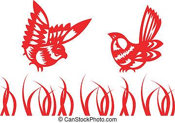 chinês, -, tradicional, cantando, pássaros, papercut