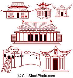 chinês, tradicional, edifícios