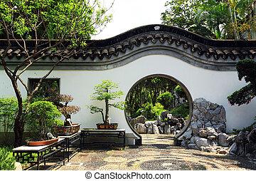 chinês, tradicional, jardim