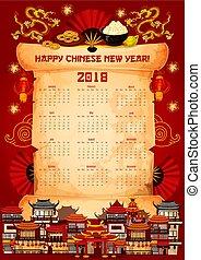 chinês, vetorial, 2018, ano, novo, calendário, scroll
