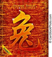 chinês, zodiac-year, coelho