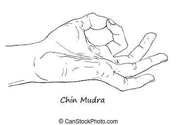 Chin or Gyan Mudra. Hand drawn illustration of ritual yoga...