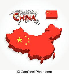 China 3D ( People 's Republic of China ) ( map and flag ) ( Transportation and tourism concept )