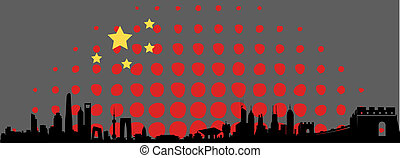 China abstract flag Skyline - Great Mainland China Building...