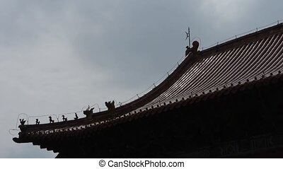 China ancient architecture.sculpture on roof eaves,Chinese...