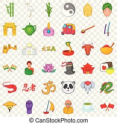 China and asia icons set, cartoon style