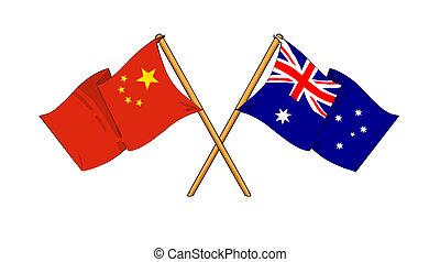 China and Australia alliance and friendship - cartoon-like...