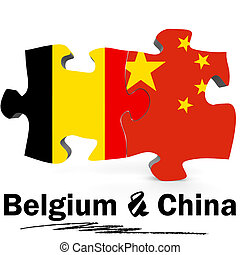 China and Belgium flags in puzzle