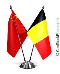 China and Belgium - Miniature Flags.